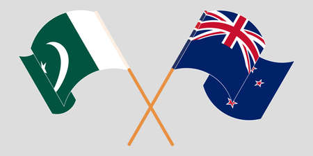 Crossed and waving flags of Pakistan and New Zealand