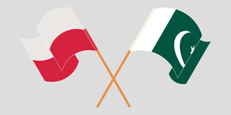 Crossed and waving flags of Pakistan and Poland 向量圖像