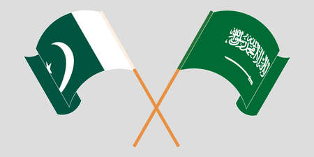 Crossed and waving flags of Pakistan and the Kingdom of Saudi Arabia 向量圖像