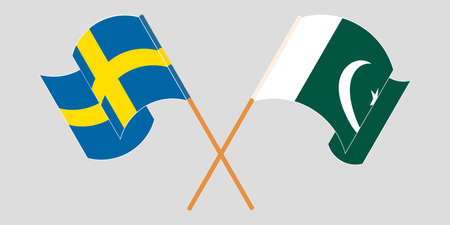 Crossed and waving flags of Pakistan and Sweden 向量圖像