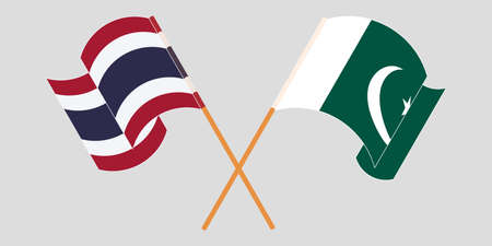 Crossed and waving flags of Pakistan and Thailand 向量圖像
