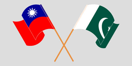 Crossed and waving flags of Pakistan and Taiwan