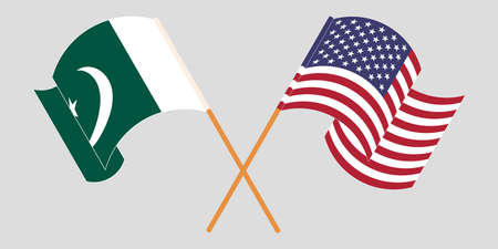Crossed and waving flags of Pakistan and the USA 向量圖像