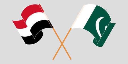 Crossed and waving flags of Pakistan and Yemen 向量圖像