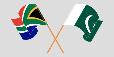Crossed and waving flags of Pakistan and Republic of South Africa