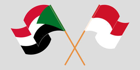 Crossed and waving flags of Sudan and Indonesia