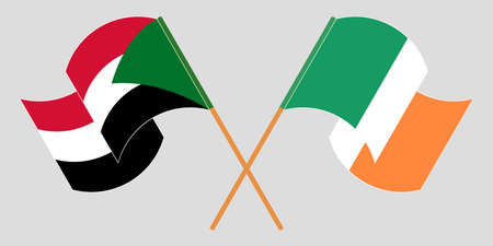 Crossed and waving flags of Sudan and Ireland. Vector illustration