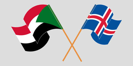 Crossed and waving flags of Sudan and Iceland