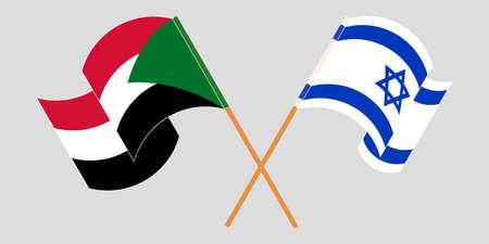 Crossed and waving flags of Sudan and Israel 向量圖像