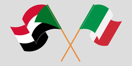 Crossed and waving flags of Sudan and Italy 向量圖像