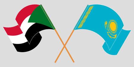 Crossed and waving flags of Sudan and Kazakhstan 向量圖像