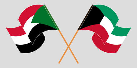 Crossed and waving flags of Sudan and Kuwait 向量圖像