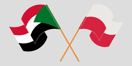 Crossed and waving flags of Sudan and Poland 向量圖像