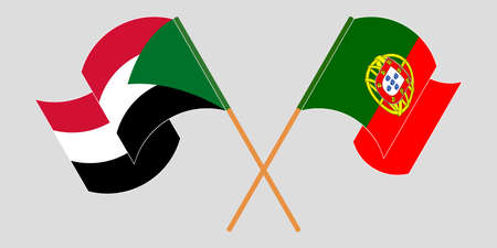 Crossed and waving flags of Sudan and Portugal. Vector illustration 向量圖像