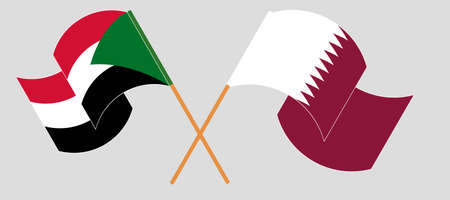 Crossed and waving flags of Sudan and Qatar 向量圖像