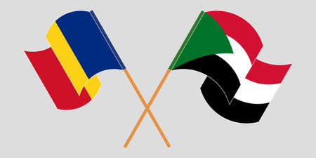 Crossed and waving flags of Sudan and Romania