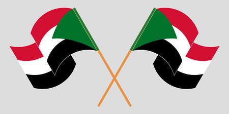 Crossed and waving flags of Sudan