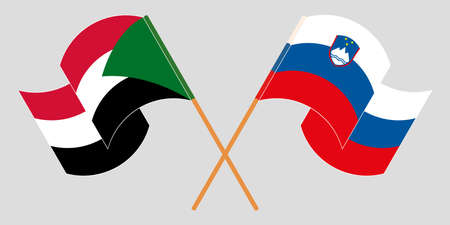Crossed and waving flags of Sudan and Slovenia. Vector illustration 向量圖像