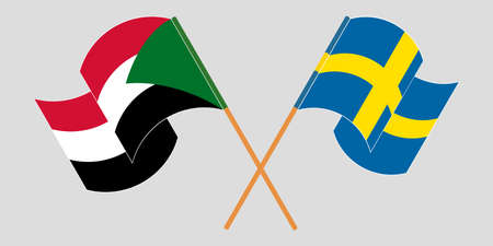 Crossed and waving flags of Sudan and Sweden