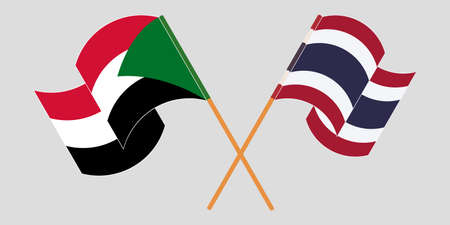 Crossed and waving flags of Sudan and Thailand