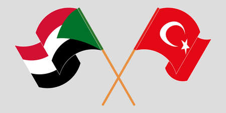 Crossed and waving flags of Sudan and Turkey 向量圖像
