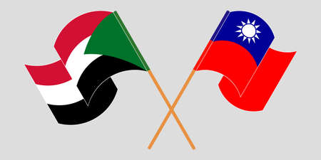 Crossed and waving flags of Sudan and Taiwan 向量圖像