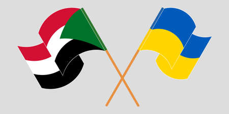 Crossed and waving flags of Sudan and the Ukraine. Vector illustration