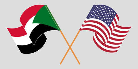 Crossed and waving flags of Sudan and the USA. Vector illustration 向量圖像