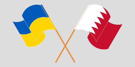 Crossed and waving flags of the Ukraine and Bahrain. Vector illustration 向量圖像