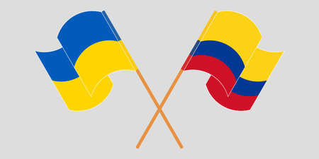 Crossed and waving flags of the Ukraine and Colombia 向量圖像