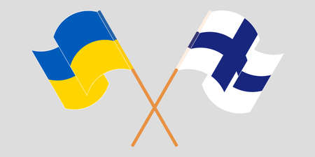 Crossed and waving flags of the Ukraine and Finland