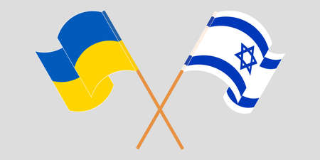 Crossed and waving flags of the Ukraine and Israel