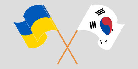 Crossed and waving flags of the Ukraine and South Korea 向量圖像