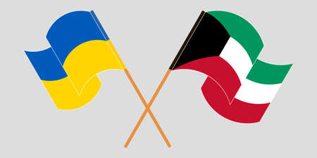 Crossed and waving flags of the Ukraine and Kuwait 向量圖像