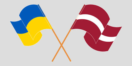 Crossed and waving flags of the Ukraine and Latvia 向量圖像