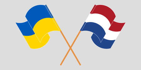 Crossed and waving flags of the Ukraine and the Netherlands 向量圖像