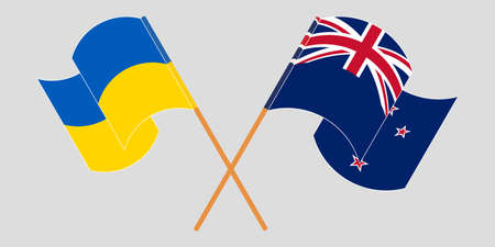 Crossed and waving flags of Ukraine and New Zealand
