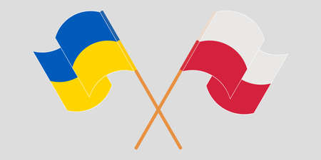 Crossed and waving flags of the Ukraine and Poland 向量圖像