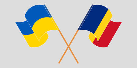 Crossed and waving flags of Ukraine and Romania. Vector illustration