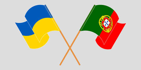 Crossed and waving flags of Ukraine and Portugal. 向量圖像