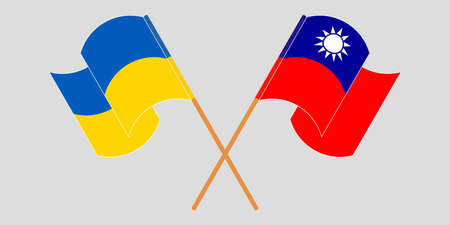 Crossed and waving flags of Ukraine and Taiwan 向量圖像