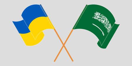 Crossed and waving flags of the Ukraine and Kingdom of Saudi Arabia