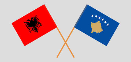 Crossed flags of Kosovo and Albania