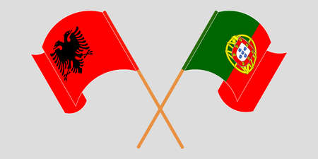 Crossed and waving flags of Albania and Portugal 向量圖像