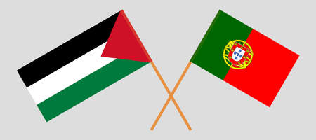 Crossed flags of Palestine and Portugal