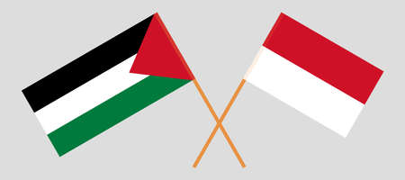 Crossed flags of Palestine and Indonesia 向量圖像