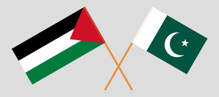 Crossed flags of Palestine and Pakistan