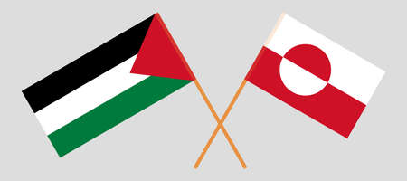 Crossed flags of Palestine and Greenland