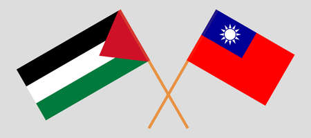 Crossed flags of Palestine and Taiwan