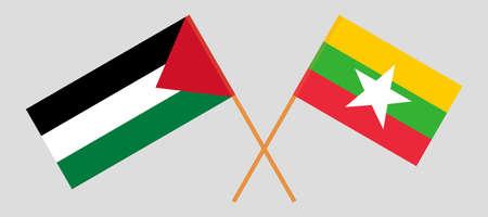 Crossed flags of Palestine and Myanmar